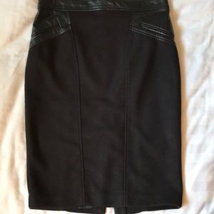 ABS  knit black pencil skirt w faux leather trim